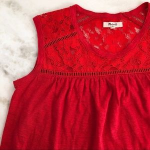 madewell | red lace linen tank top size small